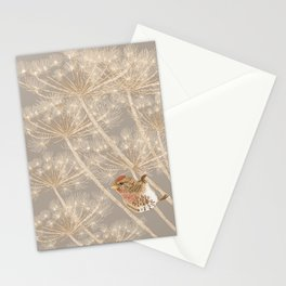 Redpoll on Hogweed Stationery Cards