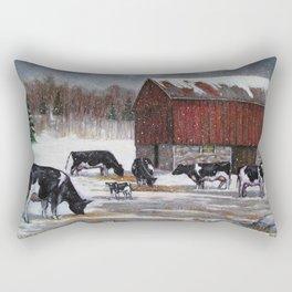 Holstein Dairy Cows in Snowy Barnyard; Winter Farm Scene No. 2 Rectangular Pillow