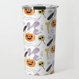 Happy halloween pumpkins, poison, bones and candies pattern Travel Mug