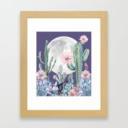 Desert Cactus Full Moon Succulent Garden on Purple Framed Art Print