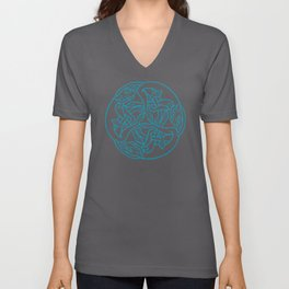 St. Patrick's Day Celtic Blue Mandala #4 Unisex V-Neck
