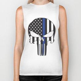 Punisher Skull American Flag Thin Blue Line Biker Tank