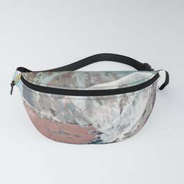 In the Clouds: a minimal mixed media piece in blues, pinks, white, and purple Fanny Pack