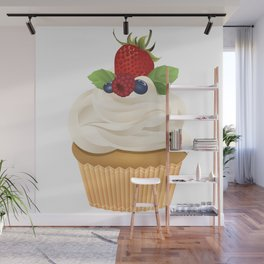 Red Fruit Cupcake Wall Mural