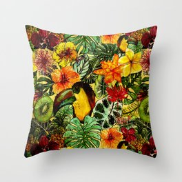 Tropical Vintage Exotic Jungle Flower Flowers - Floral watercolor pattern Throw Pillow
