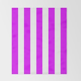 Phlox violet - solid color - white vertical lines pattern Throw Blanket