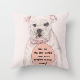 Bulldog humour Throw Pillow