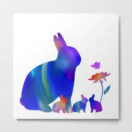 Rabbit mom and her bunnies Metal Print