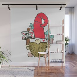 Valentine Red Hat Garden Gnome With Be Mine Hearts Sign Wall Mural