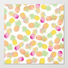 Tropical neon pink teal watercolor faux gold glitter pineapple Canvas Print
