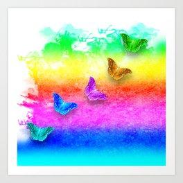 Painted rainbow butterflies Art Print