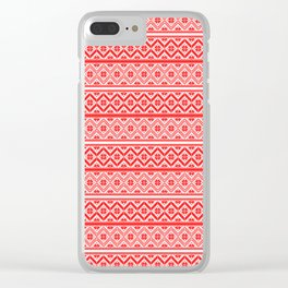Red and White Classic Nordic Christmas Pattern Clear iPhone Case