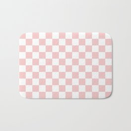 Gingham Pink Blush Rose Quartz Checked Pattern Bath Mat