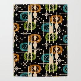 Retro Atomic Mid Century Pattern Black Orange Green and Turquoise Poster