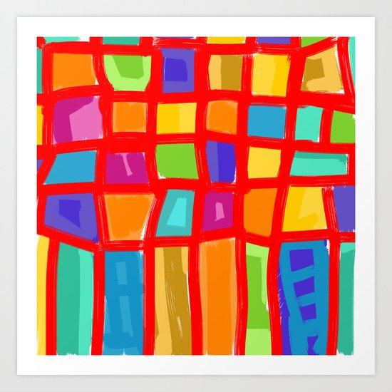 Colorful Grid Art Print