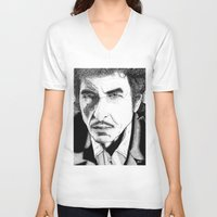 bob dylan V-neck T-shirts featuring Bob Dylan by Jocke Hegsund