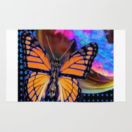 ORANGE MONARCH BUTTERFLY & SOAP BUBBLE IN BLUE OPTICAL ART Rug