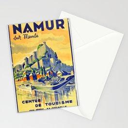 Retro Placard Namur Sur Meuse River Castle Citadelle Stationery Cards