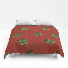 Gifts and stars - red and green Comforters