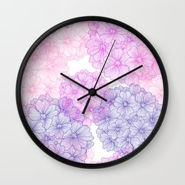 Abstract Verbena Flowers Wall Clock