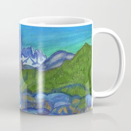 Fantastic landscape with mountain river and snowy mountain peaks Coffee Mug