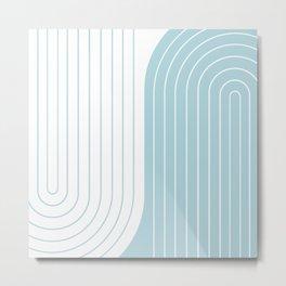 Two Tone Line Curvature XV - Sky Blue Metal Print