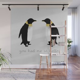 You Had Me At Hello, Penguin Quote, Couples Gift Wall Mural