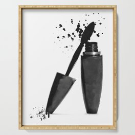 Black mascara fashion illustration Serving Tray
