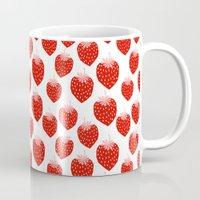 vegetarian Mugs featuring Strawberries - trendy fresh tropical fruit vegan vegetarian juice juicing cleanse by CharlotteWinter