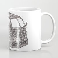 volkswagon Mugs featuring Tangled VW Bus - side view by Cherry Creative Designs