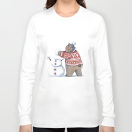 Bear with snowman Long Sleeve T-shirt