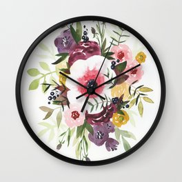 Burgundy Blush Watercolor Floral Wall Clock