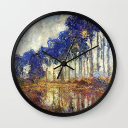 Poplars on the Bank of the Epte River by Claude Monet Wall Clock