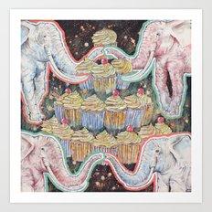 Elephants Love Cupcakes Art Print