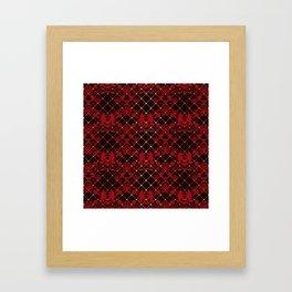 Retro .Vintage . Black red openwork ornament . Framed Art Print