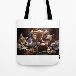 Cats play poker Tote Bag