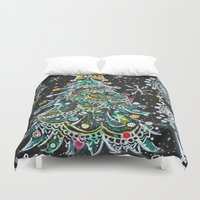 christmas tree Duvet Covers featuring Christmas Tree by Teri Newberry