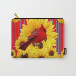 YELLOW SUNFLOWERS RED CARDINAL GREY  ART Carry-All Pouch