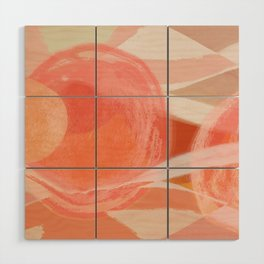 Shapes and Layers no.22 - Pink, coral, peach, orange abstract painting Wood Wall Art