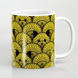 Yellow Art Deco Cat Pattern Coffee Mug