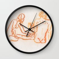 nudes Wall Clocks featuring Nudes looking away by CharlieValintyne