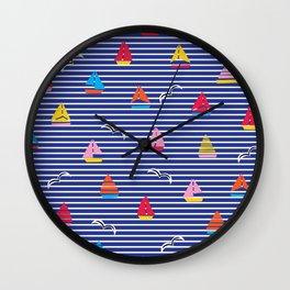 Sailboats on Stripes Wall Clock