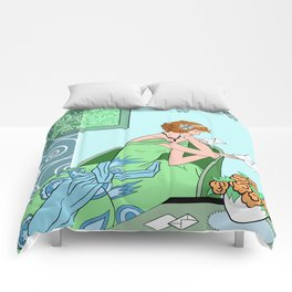 CLARICE: Art Deco Lady - Girly Greens Comforters