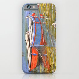 Blue And Orange Boats At The Harbor iPhone Case