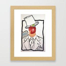 Bitten Apple Face Framed Art Print