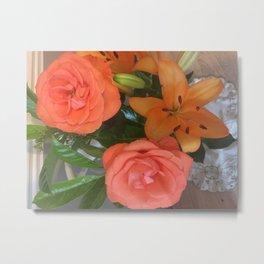 orange Lilies and roses Metal Print