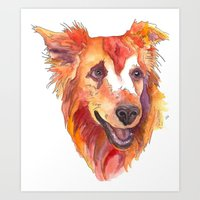 golden retriever Art Prints featuring Golden Retriever by Christie Martinez