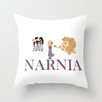 narnia Throw Pillows featuring Narnia by Little Moon Dance