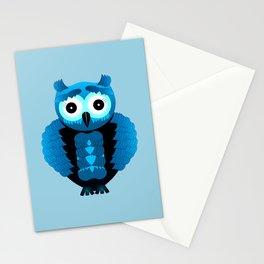 Blue Ice Owl Stationery Cards