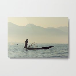 Fisherman on Inle Lake Metal Print
